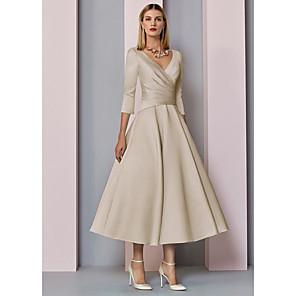 cheap Wedding Wraps-A-Line Mother of the Bride Dress Elegant Vintage Plus Size V Neck Tea Length Satin 3/4 Length Sleeve with Pleats 2020