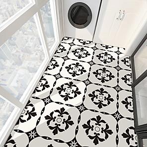 cheap Wall Stickers-PVC antiskid twill printing black flower splicing paste bathroom bedroom living room DIY floor paste