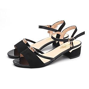 cheap Women's Sandals-Women's Sandals Summer Block Heel Open Toe Daily Outdoor Sequin PU Black / Gold