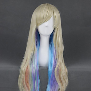cheap Costume Wigs-Cosplay Wig Mayu Vocaloid Curly Cosplay Asymmetrical With Bangs Wig Very Long Blonde Synthetic Hair 40 inch Women's Anime Cosplay Highlighted / Balayage Hair Blonde