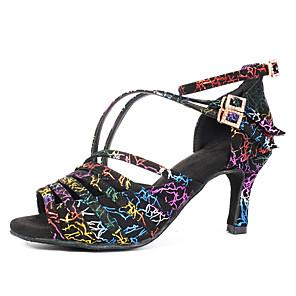 رخيصةأون أحذية لاتيني-نسائي أحذية الرقص أحذية رقص أحذية سالسا كعب مشبك كعب كوبي مخصص التقزح اللوني / أداء / تمرين