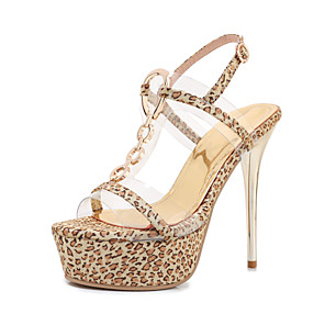 cheap Women's Sandals-Women's Sandals Summer Stiletto Heel Open Toe Classic Sexy Wedding Party & Evening Buckle Leopard PU Gold / Animal Print
