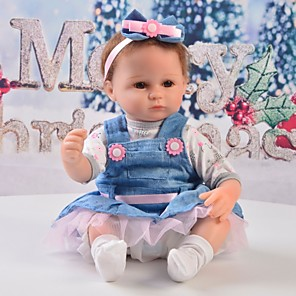 cheap Reborn Doll-Reborn Baby Dolls Clothes Reborn Doll Accesories Cotton Fabric for 17-18 Inch Reborn Doll Not Include Reborn Doll Skirt Soft Pure Handmade Girls' 5 pcs