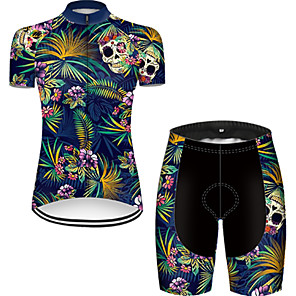 cheap Cycling Jersey & Shorts / Pants Sets-21Grams Women's Short Sleeve Cycling Jersey with Shorts Nylon Polyester Black / Blue Gradient Skull Floral Botanical Bike Clothing Suit Breathable 3D Pad Quick Dry Ultraviolet Resistant Reflective