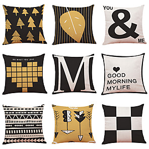 cheap Throw Pillow Covers-9 pcs Linen Pillow Cover Nordic Home Geometric Linen Pillow Cases Sofa Pillow Bedroom Car Pillow Cushion Office Nap Pillow