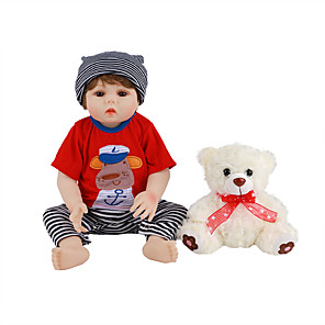 cheap Reborn Doll-FeelWind 18 inch Reborn Doll Baby & Toddler Toy Reborn Toddler Doll Baby Boy Gift Cute Lovely Parent-Child Interaction Tipped and Sealed Nails Full Body Silicone LV014 with Clothes and Accessories
