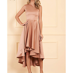 cheap Ballroom Dancewear-A-Line Mother of the Bride Dress Elegant Jewel Neck Tea Length Satin Sleeveless with Pleats 2020