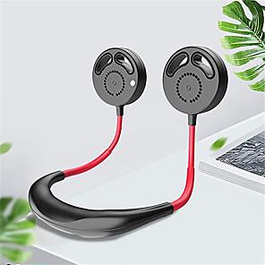 cheap Household Appliances-Bladeless Portable Mini Fan USB Rechargeable Quiet Hand Free Personal Fan 3 Adjustable Speed Wearable Neckband Neck Fan