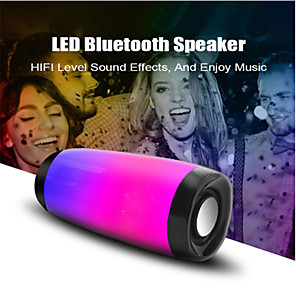cheap Portable Speakers-10W Wireless Bluetooth Speaker with Colorful LED Light Outdoor Portable Column FM Radio TF with Mic Hands Free Stereo Subwoofer