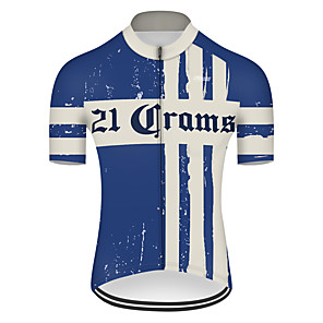 cheap Cycling Jerseys-21Grams Men's Short Sleeve Cycling Jersey Spandex Polyester Blue / White Retro Bike Jersey Top Mountain Bike MTB Road Bike Cycling UV Resistant Breathable Quick Dry Sports Clothing Apparel / Stretchy