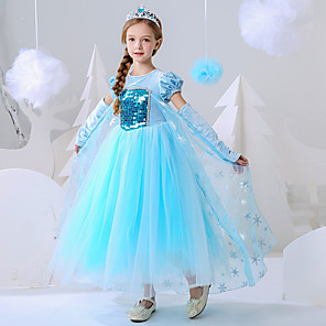 cheap Movie & TV Theme Costumes-Princess Elsa Dress Flower Girl Dress Girls' Movie Cosplay A-Line Slip Blue Dress Carnival Children's Day Masquerade Polyester