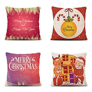 cheap Throw Pillow Covers-Set of 4 Linen Cotton Pillow Cover Holiday Christmas Modern Christmas Throw Pillow