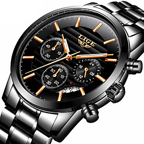 cheap Smartwatches-LIGE Men's Steel Band Watches Quartz Modern Style Stylish Casual Water Resistant / Waterproof Stainless Steel Analog - Black / Silver Black+Gloden White+Silver / Calendar / date / day