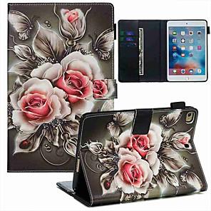 cheap iPad case-Case For Apple iPad Mini 3/2/1 / iPad Mini 4 / iPad Mini 5 Wallet / Card Holder / with Stand Full Body Cases Flower PU Leather / TPU