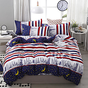 cheap Solid Duvet Covers-City Series Stripe and Star Printed 4 Piece Duvet Cover Set Bedding Set