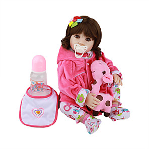 cheap Reborn Doll-FeelWind 18 inch Reborn Doll Baby & Toddler Toy Reborn Toddler Doll Baby Girl Gift Cute Lovely Parent-Child Interaction Tipped and Sealed Nails Full Body Silicone LV045 with Clothes and Accessories
