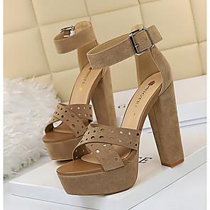 cheap Women's Sandals-Women's Heels / Sandals Summer Pumps Peep Toe Daily PU Black / Khaki