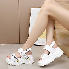 cheap Women's Sandals-Women's Sandals Summer Platform Open Toe Daily PU White / Black