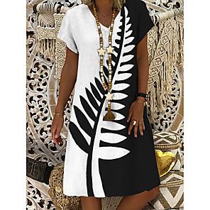 cheap Women's Heels-Women's A-Line Dress Knee Length Dress - Short Sleeves Geometric Print Summer V Neck Casual Daily 2020 White L XL XXL XXXL