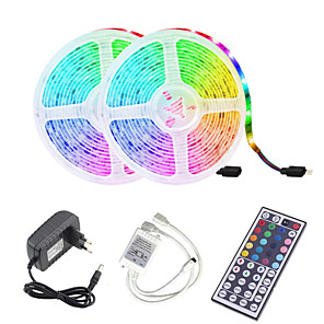cheap Indoor Wall Lights-LED Strip Light (2*5M)10M 32.8ft 2835 RGB 600leds 8mm Strips Lighting Flexible Color Changing with 44 Key IR Remote Ideal for Home Kitchen Christmas TV Back Lights DC 12V