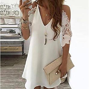 cheap Women's Sandals-Women's Sundress Short Mini Dress - Half Sleeve Polka Dot Floral Print Summer V Neck Vacation Going out 2020 White Black Gold Navy Blue Rainbow Beige S M L XL XXL XXXL XXXXL XXXXXL