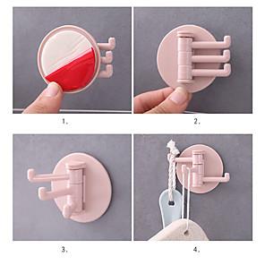 cheap Bathroom Gadgets-5 Pcs Seamless Adhesive Hook Rotatable Strong Bearing Stick Hook Kitchen Bathroom Wall Rack Towel Sundries Storage Rack Tools