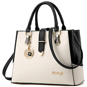 cheap Handbag & Totes-Women's Bags PU Leather Top Handle Bag Zipper / Chain for Daily Wine / White / Black