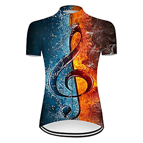 cheap Cycling Jerseys-21Grams Women's Short Sleeve Cycling Jersey Nylon Polyester Blue+Yellow 3D Patchwork Gradient Bike Jersey Top Mountain Bike MTB Road Bike Cycling Breathable Quick Dry Ultraviolet Resistant Sports