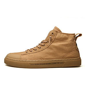 cheap Men's Sneakers-Men's Winter Casual Daily Sneakers Canvas White / Khaki / Brown