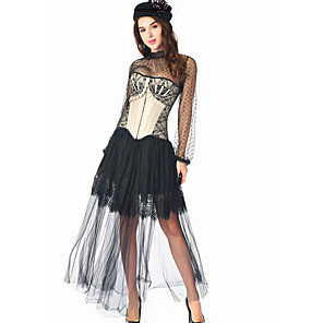 cheap Historical & Vintage Costumes-Plague Doctor Medieval Steampunk Wasp-Waisted Dress Blouse / Shirt Overbust Corset Women's Costume Black Vintage Cosplay Party Prom