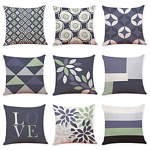 cheap Throw Pillow Covers-9 pcs Linen Pillow Cover, Geometic Contemporary Casual Modern Square Traditional Classic