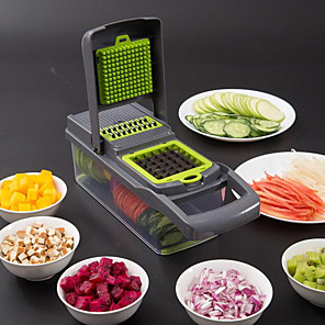 cheap Kitchen Utensils & Gadgets-Food Chopper Vegetable-Fruit-Cheese-Onion Chopper Slicer Dicer Tomato Grater 12 in 1 Veggie Chopper Spiralizer Salad Potato Slicer with Container Multi-function Kitchen Aid Carrot Cutter