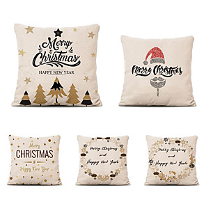 cheap Throw Pillow Covers-Set of 5 Linen Pillow Cover Special Design Cartoon Traditional Christmas Throw Pillow