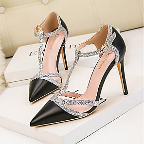 cheap Women's Heels-Women's Heels / Sandals Summer Stiletto Heel Pointed Toe Daily PU Nude / White / Black