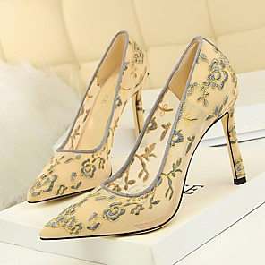 cheap Wedding Shoes-Women's Heels Summer Stiletto Heel Pointed Toe Daily Lace Almond / Black / Yellow