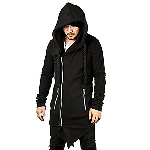 cheap Historical & Vintage Costumes-Plague Doctor Vintage Gothic Masquerade Hoodie Men's Costume Black / Gray Vintage Cosplay Event / Party Long Sleeve