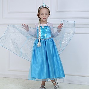 cheap Movie & TV Theme Costumes-Princess Elsa Dress Flower Girl Dress Girls' Movie Cosplay A-Line Slip Blue Dress Halloween Children's Day Masquerade Polyester