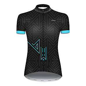 cheap Cycling Jerseys-21Grams Women's Short Sleeve Cycling Jersey Nylon Polyester Black / Blue Plaid Checkered Patchwork Bike Jersey Top Mountain Bike MTB Road Bike Cycling Breathable Quick Dry Ultraviolet Resistant Sports