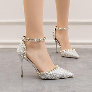 cheap Women's Heels-Women's Heels / Sandals Summer Stiletto Heel Pointed Toe Daily PU Black / Gold / Silver