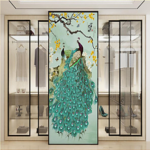 cheap Wallpaper-Custom Self-adhesive Mural Green Peacock Suitable for Background Wall Restaurant Bedroom Hotel Wall Decoration Art  Room Wallcovering