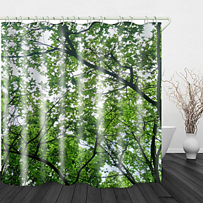cheap Shower Curtains-Dense Green Leaves Digital Print Waterproof Fabric Shower Curtain for Bathroom Home Decor Covered Bathtub Curtains Liner Includes with Hooks