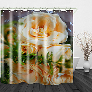 cheap Shower Curtains-Beautiful Yellow Rose Digital Print Waterproof Fabric Shower Curtain for Bathroom Home Decor Covered Bathtub Curtains Liner Includes with Hooks