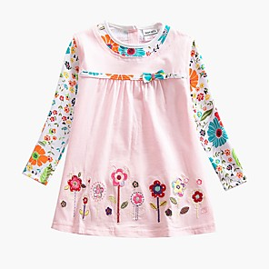 cheap Clearance-Baby Girls' Active Basic Blue & White Butterfly Sun Flower Floral Embroidered Long Sleeve Knee-length Dress Blue