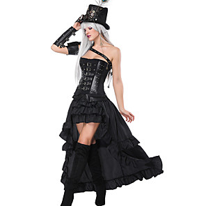 cheap Historical & Vintage Costumes-Plague Doctor Medieval Steampunk Wasp-Waisted Dress Outfits Overbust Corset Women's Costume Black Vintage Cosplay Party Prom / Shawl / Sleeves