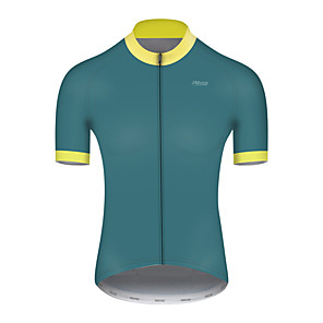 cheap Cycling Jerseys-21Grams Men's Short Sleeve Cycling Jersey Nylon Polyester Green Patchwork Bike Jersey Top Mountain Bike MTB Road Bike Cycling Breathable Quick Dry Ultraviolet Resistant Sports Clothing Apparel