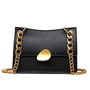cheap Handbag & Totes-Women's Bags PU Leather Crossbody Bag Chain for Daily White / Black / Yellow