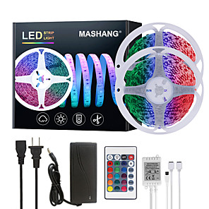 cheap LED Strip Lights-MASHANG 32.8ft 10M LED Strip Lights RGB SMD 2835 Tiktok Lights 600LEDs SMD 5050 with 24 Keys IR Remote Controller and 100-240V Adapter for Home Bedroom Kitchen TV Back Lights DIY Deco