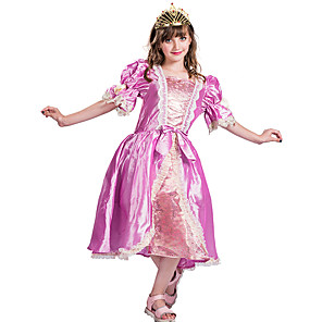 cheap Movie & TV Theme Costumes-Princess Rapunzel Aurora Flower Girl Dress Girls' Movie Cosplay A-Line Slip Pink Dress Carnival Children's Day Masquerade Polyester