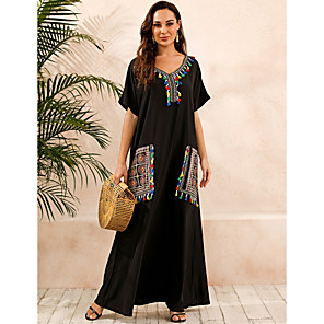 cheap Women's Sandals-Women's Plus Size Kaftan Dress Maxi long Dress - Short Sleeve Print Summer V Neck Casual Boho Daily Loose 2020 Black S M L XL XXL XXXL XXXXL XXXXXL