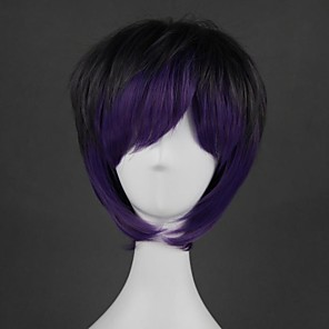 cheap Costume Wigs-Cosplay Wig Lolita Straight Cosplay Halloween With Bangs Wig Short Purple Synthetic Hair 14 inch Men's Anime Cosplay Creative Mixed Color